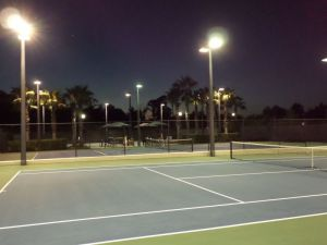 WC tennis court 6 lighted night